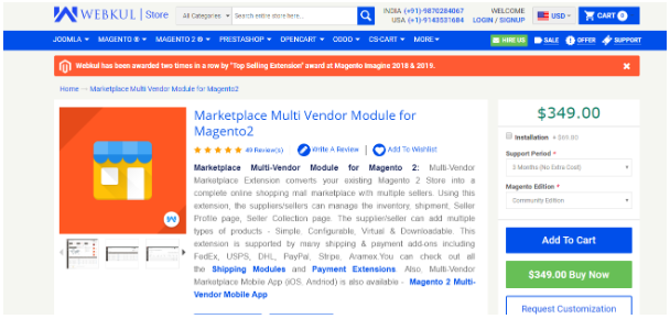 Magento 2 Marketplace Multi-Vendor Module by Webkul