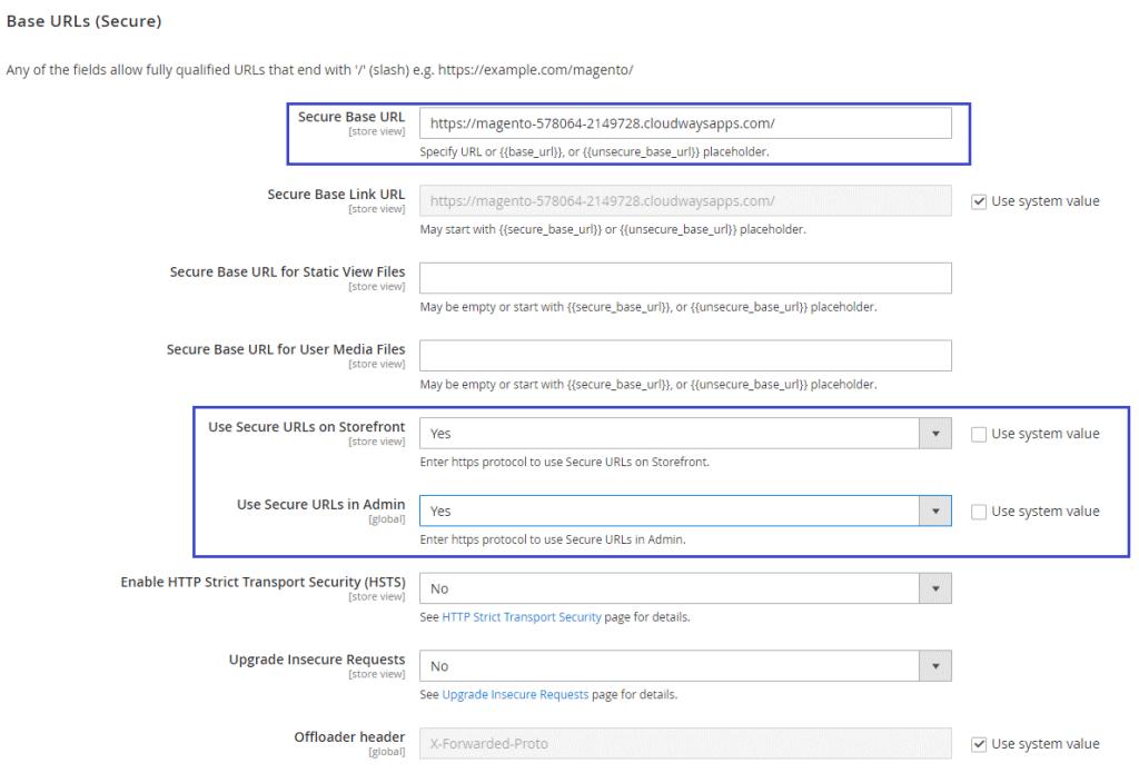 Magento 2 SSL Configuration - Change Default Configuration