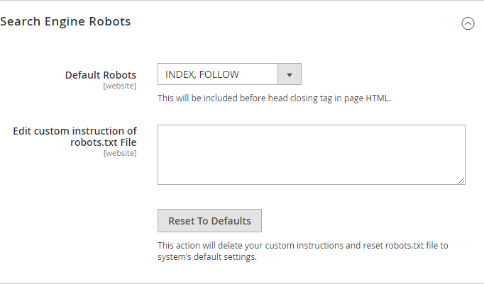 Magento Search Engine Robots