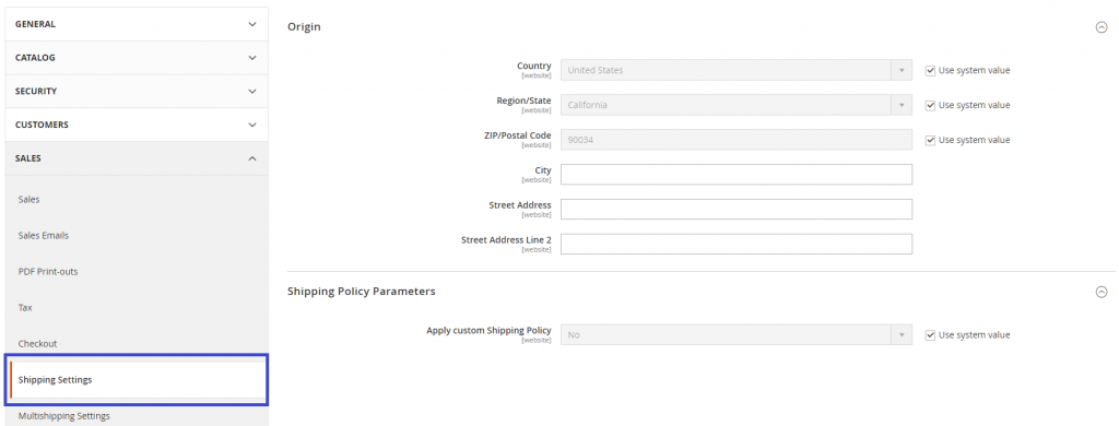 Magento Shipping Settings