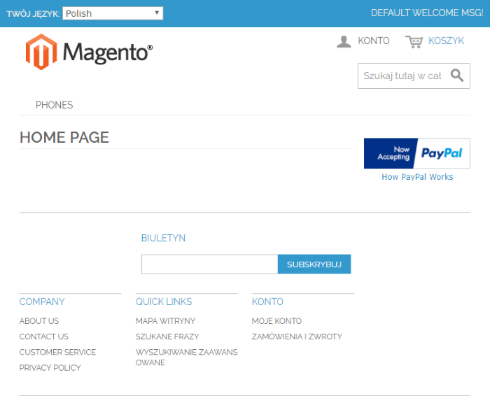 Magento Multi Language Home Page View