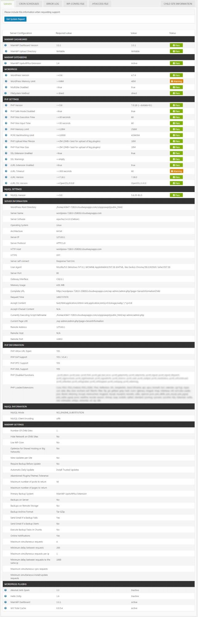 Server Information Setting