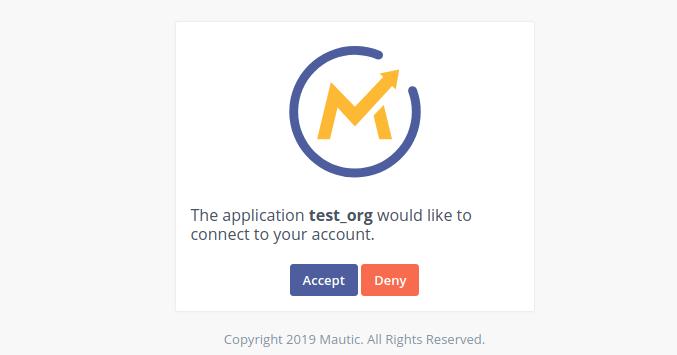 Mautic Authorization Complete message