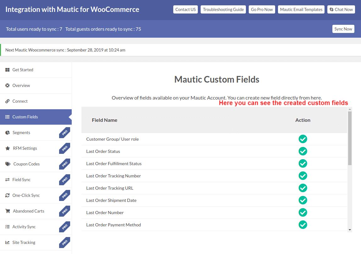Mautic Created Custom Field