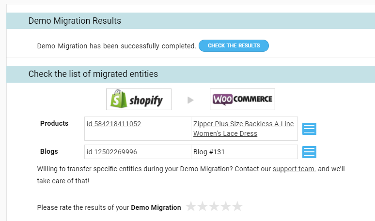 demo migration results