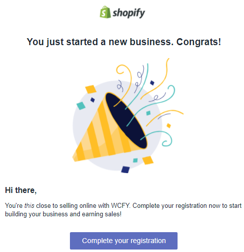 Shopify registration completed