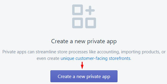 Create new private app
