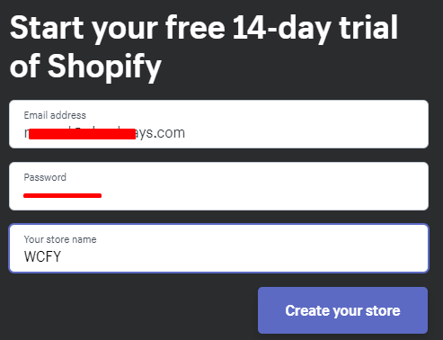 Start free trial of Shopify