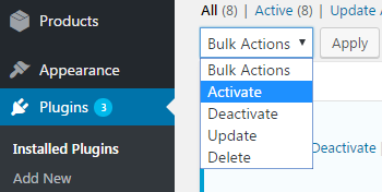 Plugin activation