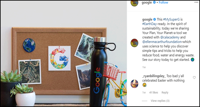 Post from the Google Instagram account