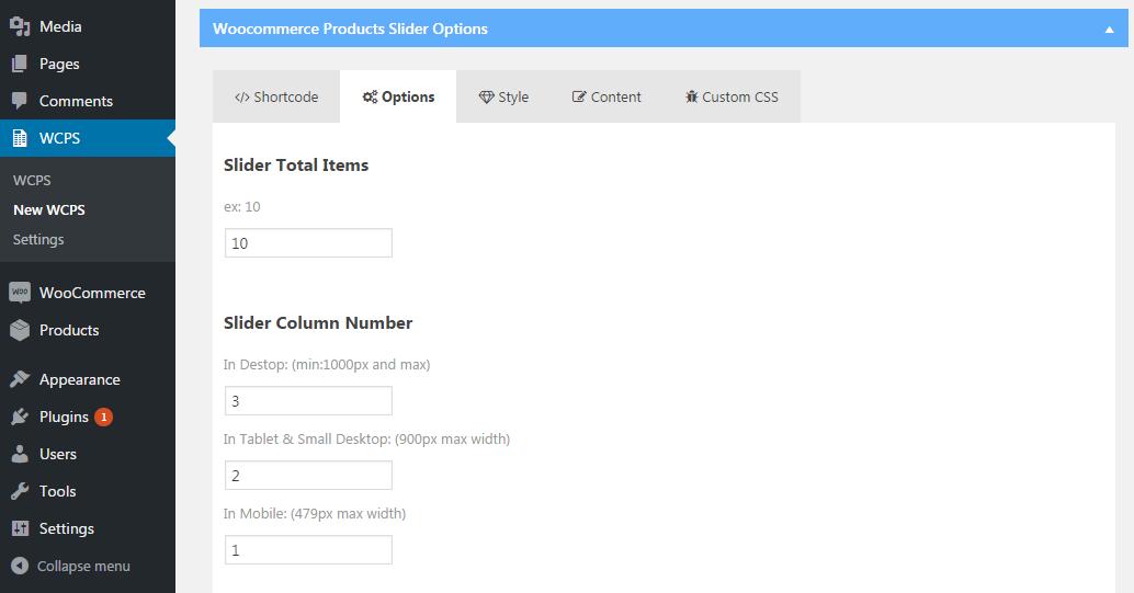 Product Slider Options