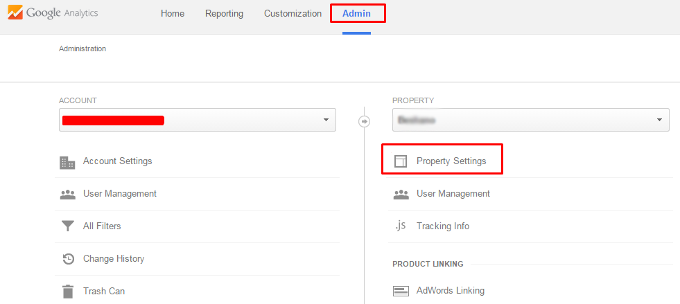 analytics property setting