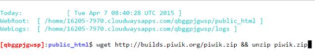 SSH-Terminal-Piwik-Command