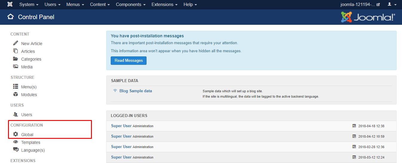 Joomla global configuration