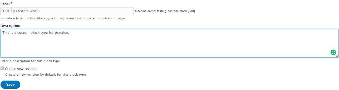 Custom block details