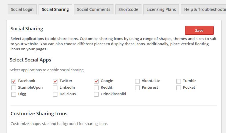 Social Sharing Settings