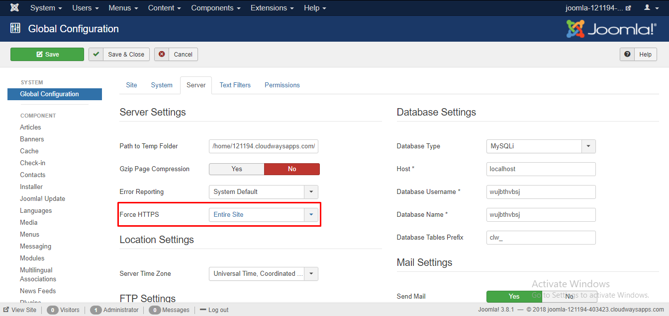 Learn to install ssl on joomla site using few easy step now login to your joomla admin panel and navigate to system global configuration go to the server tab and from the drop down list besides force https 1betcityfo Image collections