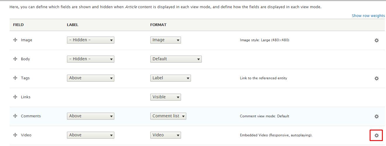 article fields