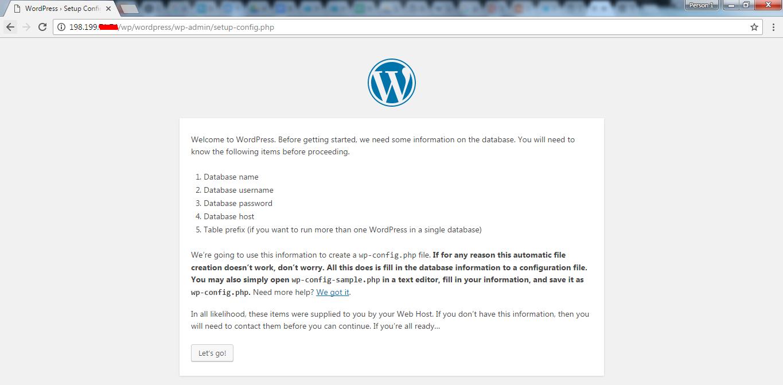 Setting up database on WordPress