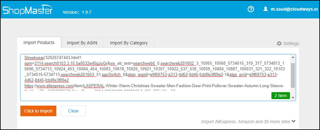 ShopMaster - Bulk Import product feature