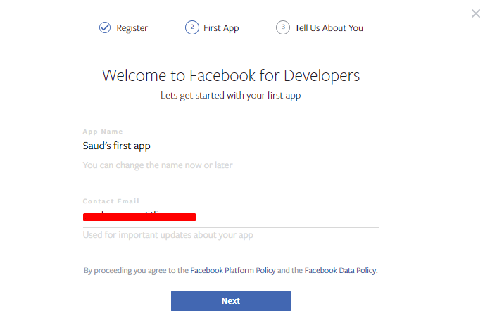 facebook for developer - social login woocommerce