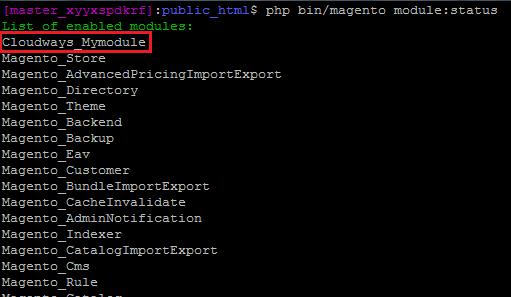 Magento module status