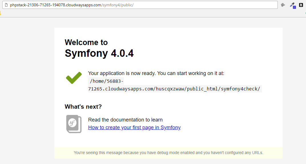 symfony welcome page