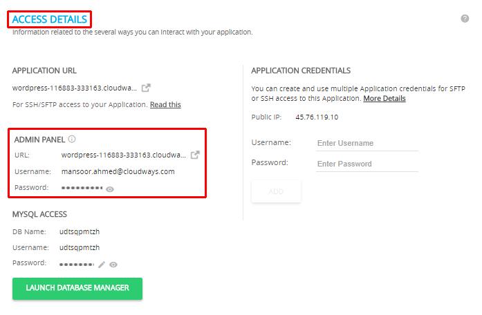 Vultr Access Details