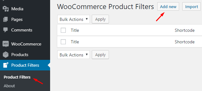 WC Product Filter Add New