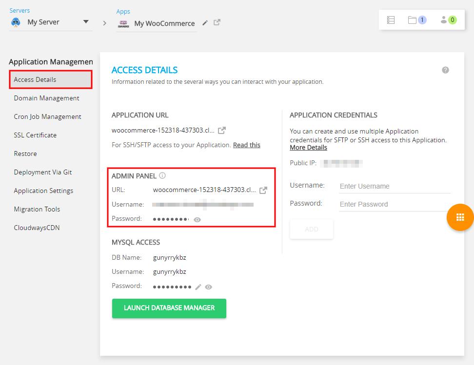 WooCommerce Vultr Hosting in UK Admin Panel