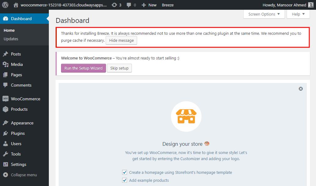 WooCommerce Vultr Hosting in UK Dashboard