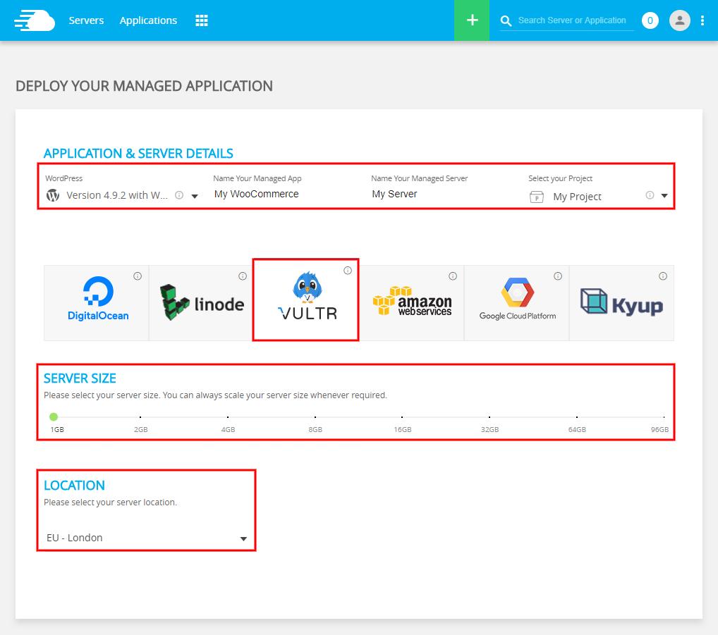 WooCommerce Vultr Hosting in UK Server Details