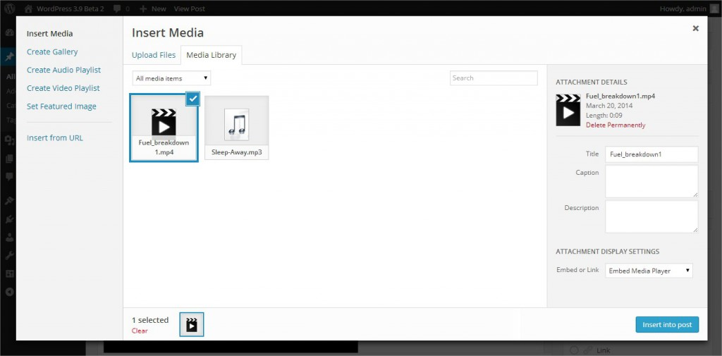WordPress 3.9 Beta 2 Audio and Video Playlists