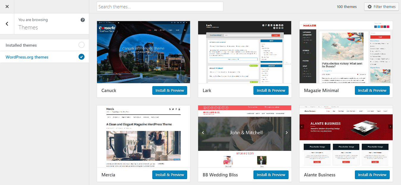 WordPress 4.9 - Add Themes from Customizer