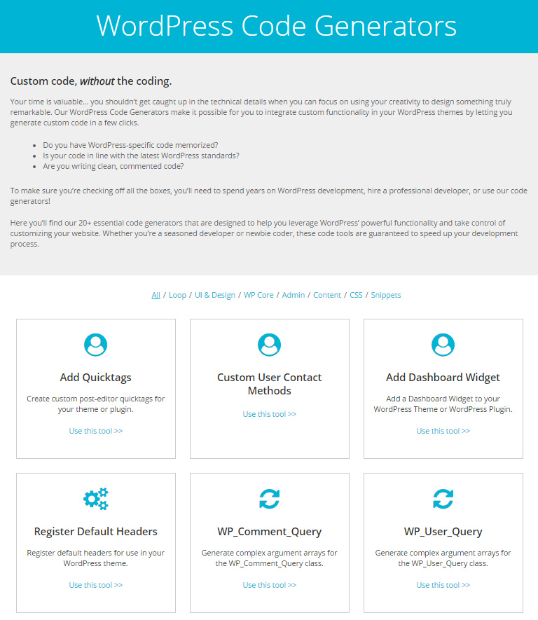WordPress Code Generators