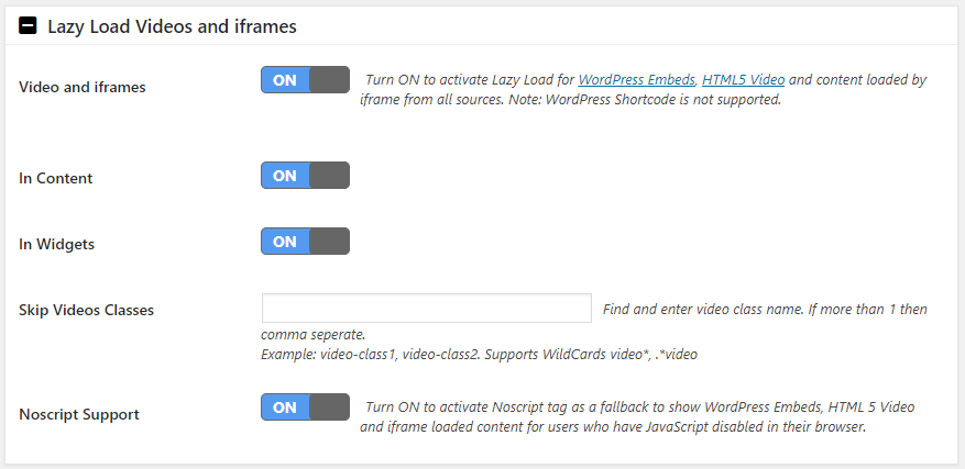 WordPress Lazy Load Videos and Iframes