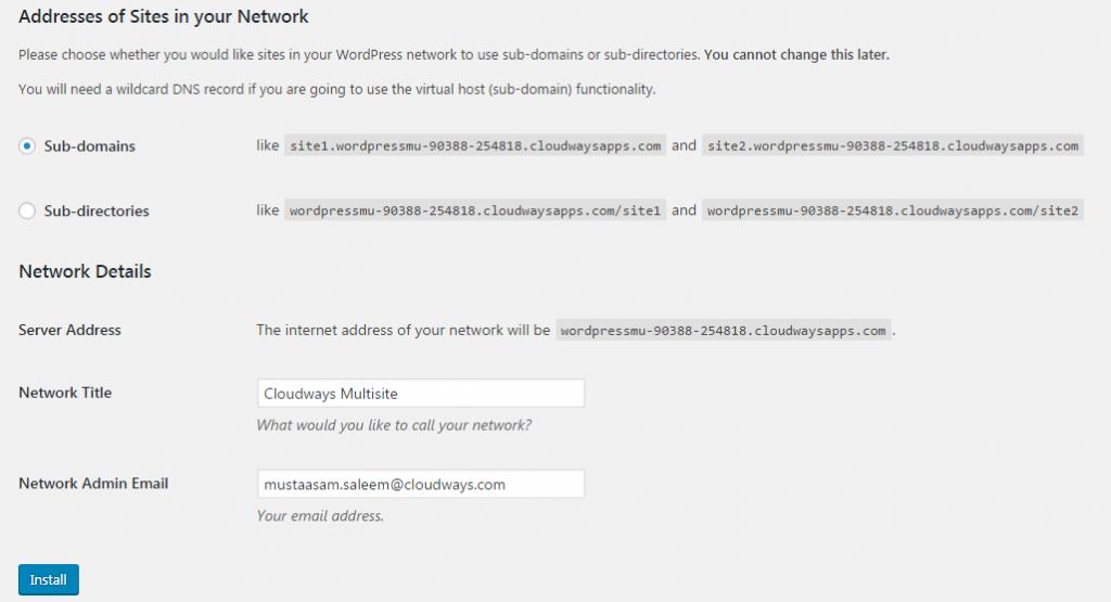 WordPress Multisite Setup Subdomain