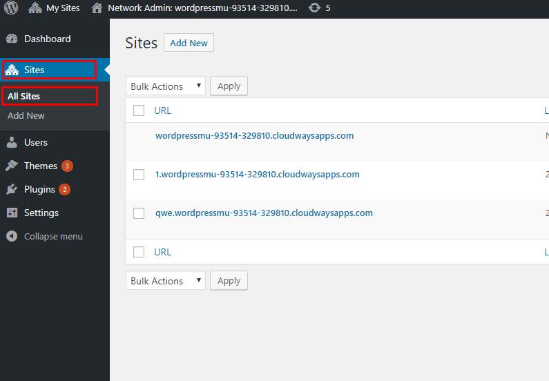 WordPress Multisite Subsites List