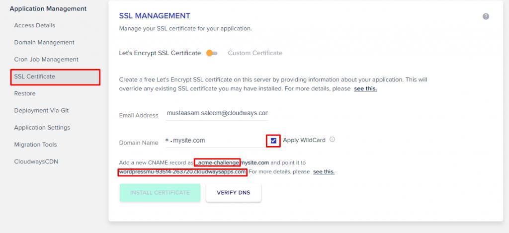 WordPress Multisite Wildcard SSL Certificate