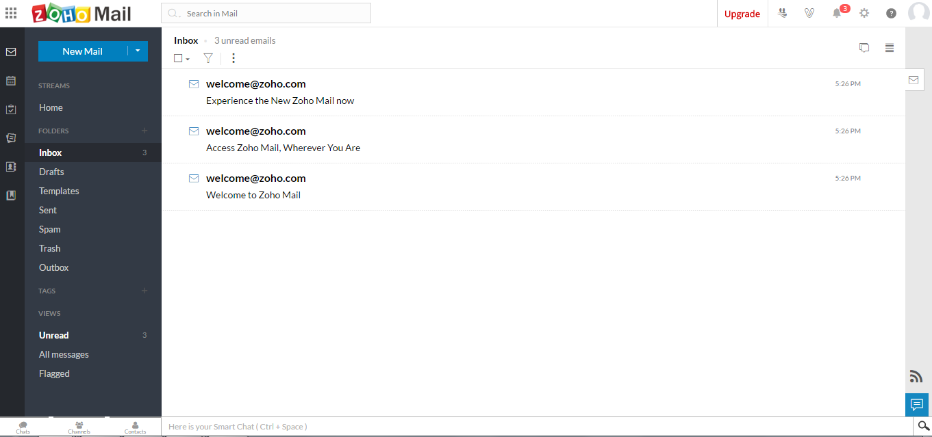 Zoho Mail Dashboard