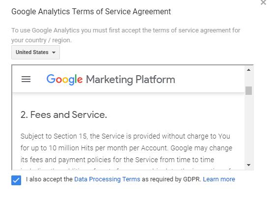 accept terms 1 - magento google analytics