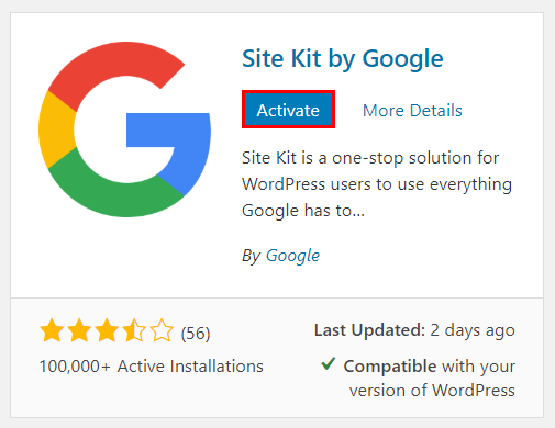 activate site kit by google