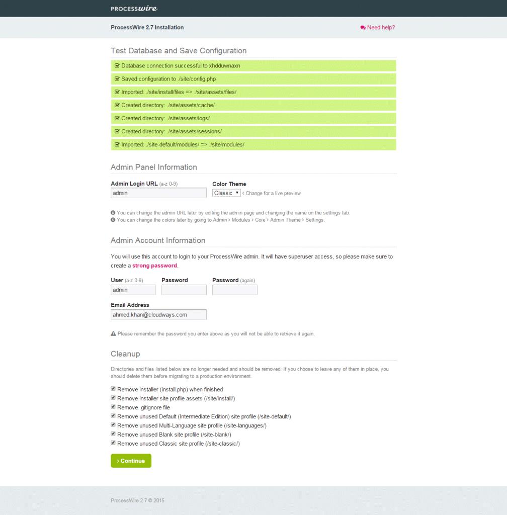 installation ProcessWire