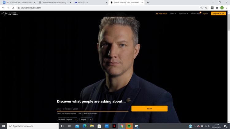 answerthepublic homepage