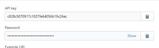 api key and password