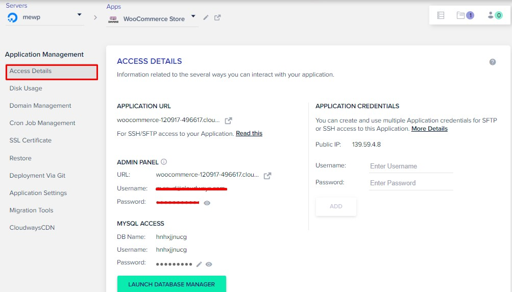 application details - woocommece on do