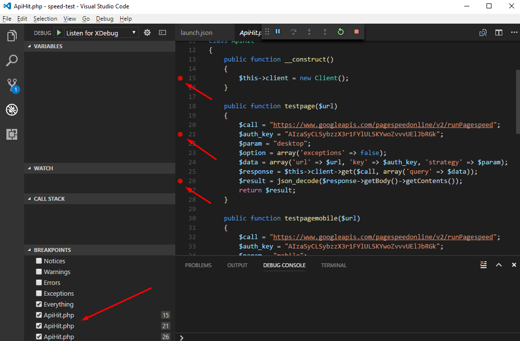 php debug script