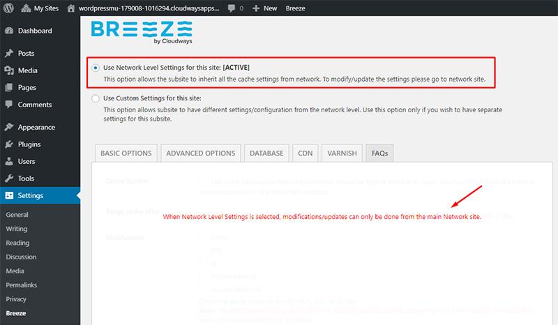 breeze network level settings