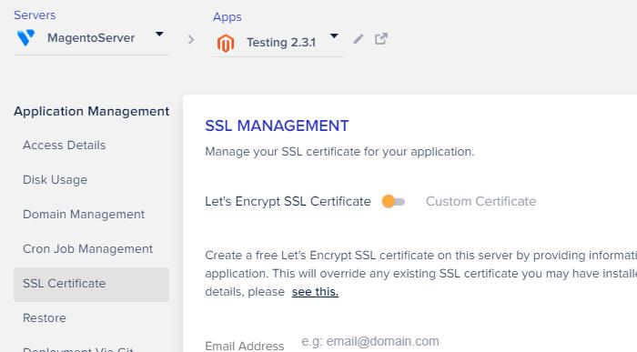 click Magento SSL Certificate