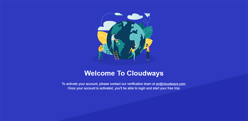 cloudways signup verfification